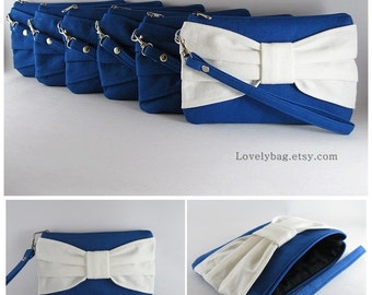 Set of 9 Bridesmaids Clutches, Wedding Clutches / ( 8 Royal Blue Bow and 1 Ivory Bow ) - MADE TO ORDER