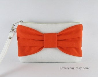 SUPER SALE - Clutch Bridal, Clutch Bridesmaids / Ivory with Orange Bow Clutch - Made To Order