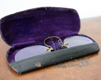 Vintage Frameless Prescription Spectacles/ Glasses With Case