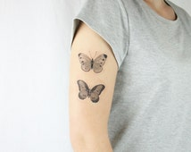 vintage butterflies temporary tattoo - choose your size - nature tattoo, mothers day gift, new beginning, transformation, strength