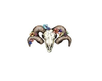 Halloween Temporary Tattoo - Skull Temporary Tattoo- Halloween Gift Idea - Ram Skull Temporary Tattoo  - Halloween Party - Halloween