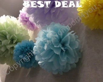 BEST DEAL - 100 Medium Tissue Paper Pom Poms for sale!