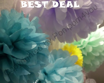 BEST DEAL - 150 Tissue Paper Pom Pom Mix for sale!