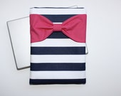 Bow MacBook Case, iPad Pro, Microsoft Surface Laptop Sleeve - Navy White Stripes Hot Pink Bow and Zipper Pocket - Padded Computer Case