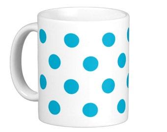 Blue / Teal Polka Dot Coffee Mug, hs1086