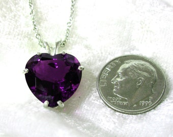 "14mm Amethyst Pendant, Amethsyt Heart Pendant 11.6 Ct. Solid 925 Sterling Silver with 18"" chain"