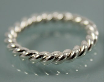 Twist Ring Chunky Rope Sterling Silver Band Twisted Stacking Ring Shiny Finish Eco Friendly Recycled Silver