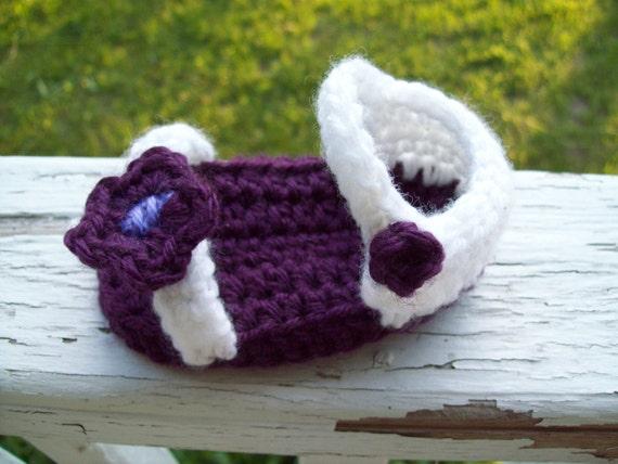Crochet Baby Sandals, Baby Girl Sandals, Purple Flower Crochet Baby Sandals