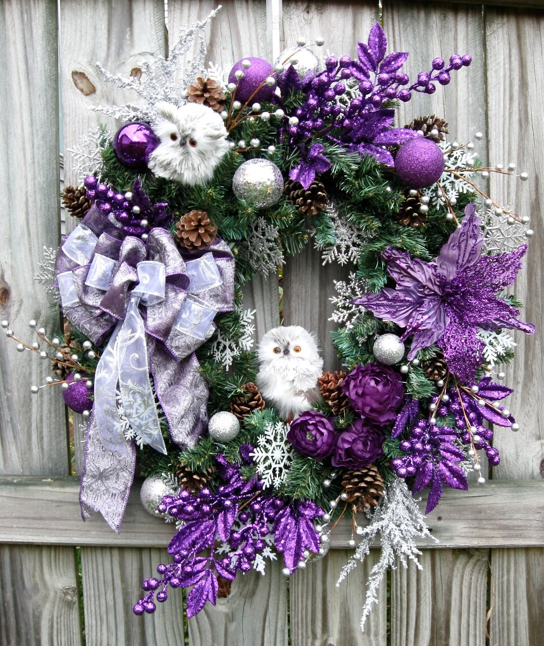Purple And White Christmas Tree: Purple And Silver Baby Owls Christmas Wreath Lavender