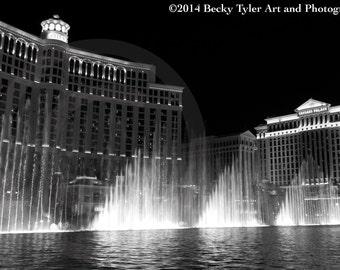 Bellagio Fountain Black and White Fine Art Photo Print