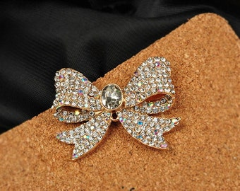 1PCS Bling Full Crystal Rhinestone bowknot flatback Alloy jewelry For Phone case deco