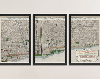 Old Chicago Map Art Print 1908 Antique Map Archival Reproduction - Elevated Railroads - Set of 3 Prints