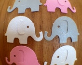 Pink and Gray Elephant Die Cut Table Confetti / 100 Pieces / Pink Gray and White Party Decorations / Scrapbooking Embellishment