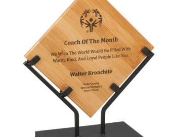 Personalized 10  inch Bamboo Plaque with Iron Stand - (WP812HB)