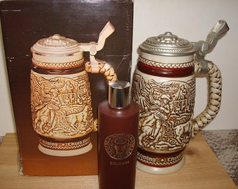 Large 1980 Western Round-Up Avon Lidded Beer Stein With Original Box And Free Wild Country Cologne