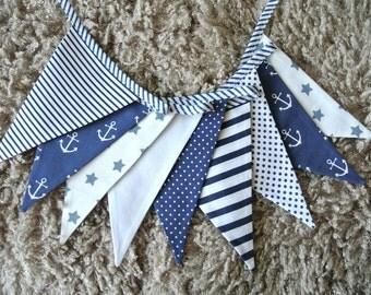 nautical marine shabby fabric garland, banners, bunting, room decor, anchor, anchors, navy blue, M14