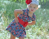 "Girls 4th of July Summer Peasant style dress ""Butterfly Kisses"" boutique hand made 6-9 month to size 7...Love Tay Boutique"