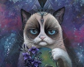 grumpy cat, canvas print, giclee, skull art, illuminiati art, third eye art, ready to hang art, home decor, gift ideas, art by phresha