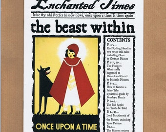 Enchanted Times 5 - fairytale newspaper zine - Red Riding Hood, Grimm fairy tales - flash fiction, short stories, cross stitch, reviews