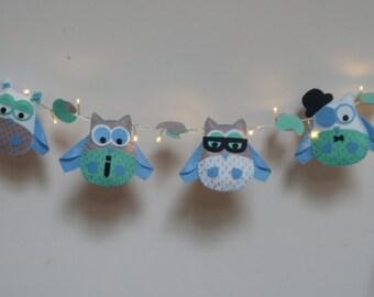 Owl light garland - nursery decor - child's room