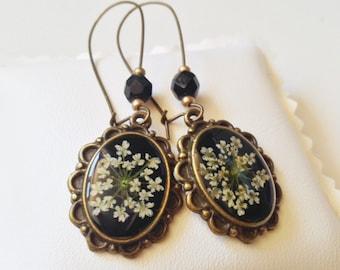 Black flower earrings, real flower jewelry long earrings, vintage style botanical jewelry, nature jewelry cameo earrings, bronze earrings