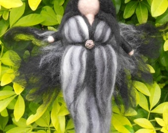 Needle felted Fairy, Waldorf Inspired, Dark angel
