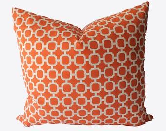 SALE, SALE, SALE, Decorative Outdoor Lattice Orange, Pillow Cover, 18x18, 20x20, 22x22 or Lumbar Trellis Throw Pillow