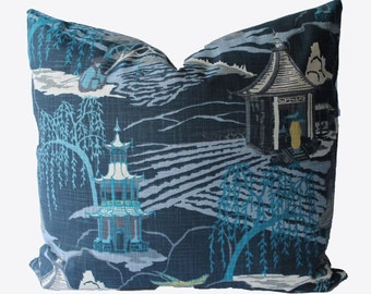 Decorative Chinoiserie Toile, Navy Blue, Indigo, Asian Pillow Cover, 18x18, 20x20, 22x22 or Lumbar, Throw Pillow