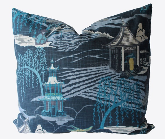 decorative chinoiserie toile navy blue indigo asian pillow. Black Bedroom Furniture Sets. Home Design Ideas
