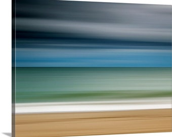 Canvas Gallery Wrap Beach Photograph Abstract Artwork Large Wall Art Ocean Storm Martha's Vineyard Blue Teal Beige Grey Living Room Decor