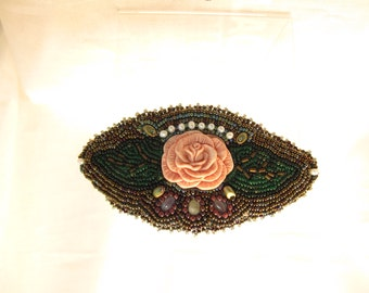 Barrette, Laura Mears pink flower bead embroidered with pearls, amethyst and seed beads