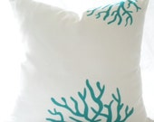 Designer White and Turquoise Coral Pillow cover Design 18 X 18 Pillow cover