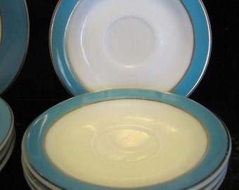 Pyrex Saucers Plates Aqua Teal Border Gold Detail Set of 4