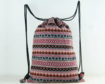 Tribal Woven Drawstring Bag/ Backpack Gym Bag, Cloth Bag, Shoe Bag