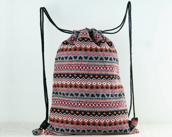 Tribal Woven Drawstring Bag/ Backpack Gym Bag Cloth Bag Shoe