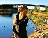 Laced Sleeve Cut Up distressed black Sweat Shirt Sweatshirt with cut neck
