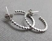 Beaded Hoop Earrings, Earrings, Sterling Earrings, Post Earrings, Hoop Earrings, Small Earrings, Minimalist Earrings, Post Earrings