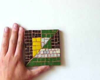 geometric abstract mosaic / yellow, brown, green art mosaic / Futurisme / rustic chic mosaic / italian art / Balla
