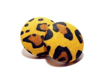 Small Safari Cheetah Print Button Earrings