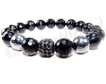 Corye Men's Matte Black Onyx & Hematite Beaded Bracelet