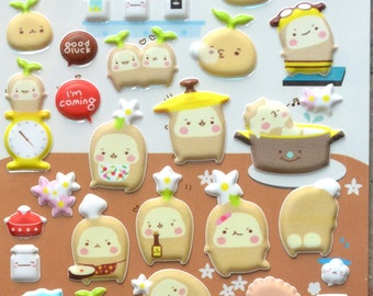 Japanese/ Korean Puffy Stickers - Happy Potatoes