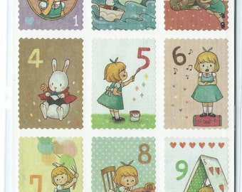 Japanese/ Korean Postage Stamp Stickers -Alice in Wonderland