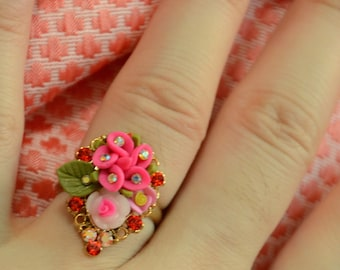 A Set of Beautiful Polymer Clay:  Pinky Floral