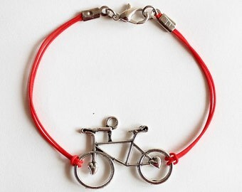 Bicycle bracelet, red string bracelet, bicycle jewelry, bike bracelet, gift for bike lovers, silver bicycle, sports bracelet