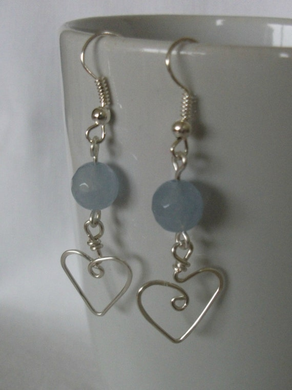 Aqua Marine heart earrings