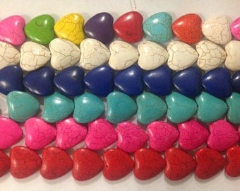 howlite heart bead, 25mm, 18beads