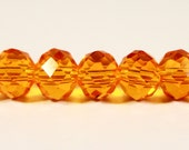 Rondelle Crystal Beads 6x4mm (4x6mm) Orange Faceted Chinese Crystal Glass Beads for Jewelry Making on an 8 Inch Strand with 49 Beads