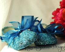 FLOWER GIRL SHOES~ Bridal Shoes~ Glittered Ballet Flats~ Custom Colors to Match Your Wedding~ Aqua Shoes~ Fast Service!
