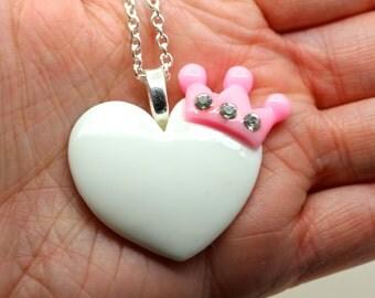 Large White Heart & Pink Crown Pendant By MillyPops - Fairy Kei, Kawaii, Kitsch, Lolita, Harajuku