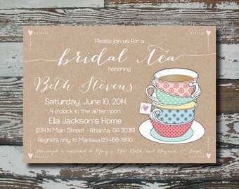 Custom Bridal Tea Invitation - Printable